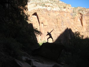 Shadow Man striking a pose on rock