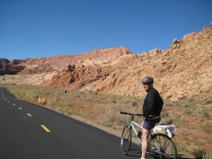 Bill riding Moab Canyon Pathway