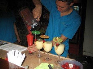 Mixing our drinks at Eco Termales