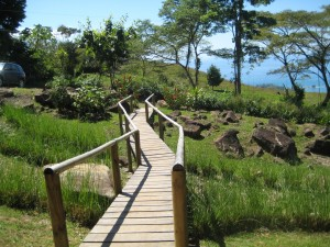 Wooden walkway to La Tierra Divina with ocean view
