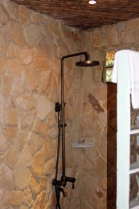 The shower in our cabina built from local stone