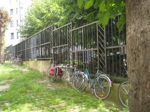 Bikes parked along the courtyard; for some, this is their transportation