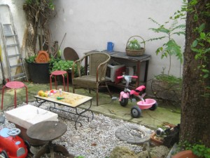 Family's patio area in courtyard