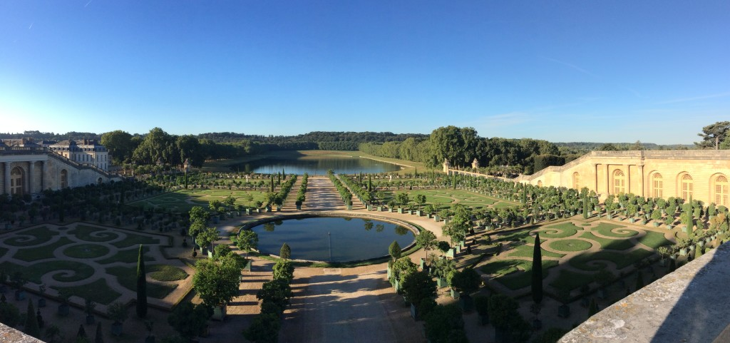 Overlooking one of the many gardens in morning dawn; considered the epitome of French formal gardens showcasing symmetry